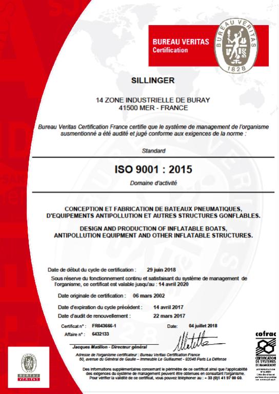 Les embarcations pliables et semi rigides Sillinger sont référencées par l'OTAN sous le code F6540.